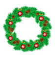 White card with Christmas wreath and bow vector image vector image