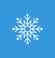 white snowflake on blue background winter icon vector image vector image