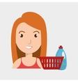 woman cartoon basket detergent bottle vector image