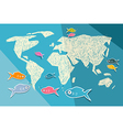 World Map on Blue Paper Background vector image