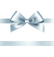 Shiny silver satin ribbon on white background vector image