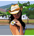 girl in a cowboy hat with a flower frangipani vector image