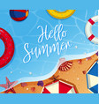 summer background theme with toys on the beach vector image