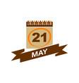 21 may calendar with ribbon vector image vector image