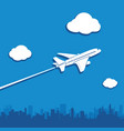 aircraft flies in sky above city vector image vector image