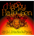 angry halloween skull with bats and witch vector image vector image