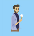 bearded man with ice-cream isolated cartoon guy vector image