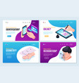biometric recognition horizontal banners vector image vector image