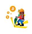 bitcoin green drill vector image vector image