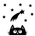 black cat looking up to comet with stars cute vector image