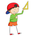 Boy and triangle vector image vector image
