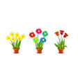 Bright Colorful Flowers Clip Art vector image