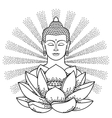 Buddha and Lotus with beam of light vector image vector image