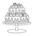 cake with strawberries for coloring book vector image vector image
