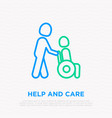 care about disabled man in wheelchair line icon vector image