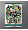 Cartoon colorful hand drawn doodles Science poster vector image