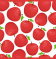 cartoon seamless pattern with red apples vector image