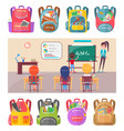 children learning letters at school lesson vector image vector image