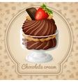 Chocolate cream badge vector image vector image
