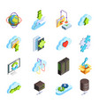 cloud service isometric icons set vector image vector image