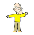 comic cartoon old man spreading arms wide vector image vector image