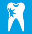 cracked tooth icon white vector image vector image