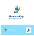 creative employee logo design flat color logo vector image vector image