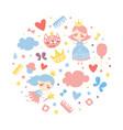 cute little princess seamless pattern circular vector image vector image