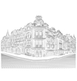 Detailed old buildings on the street corner vector image