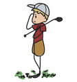 doodle golfer vector image vector image