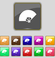 Fan icon sign Set with eleven colored buttons for vector image vector image
