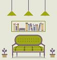 Flat Design Interior Vintage Sofa and Bookshelf vector image