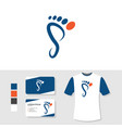 foot podiatry logo design with business card and vector image vector image