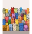 Funny cats family seamless pattern for your vector image vector image