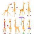 funny giraffes giraffes in a cartoon style vector image vector image