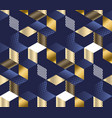 geometric blue and gold cubes luxury pattern vector image vector image