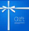 gift bow from silk thin tape on blue background vector image vector image