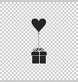 gift with balloon in shape of heart icon isolated vector image vector image