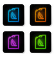 glowing neon bio fuel canister icon isolated on vector image vector image