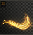 golden swirl magic light effect vector image
