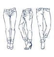 Hand drawn fashion design jeans outline vector image vector image