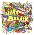 Happy Birthday doodle greeting card on background vector image vector image
