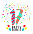 happy birthday for 17 year party invitation card vector image vector image