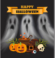 happy halloween poster with text pumpkin vector image