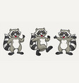 happy raccoon cartoon set vector image vector image