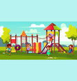 kids playing on park playground cartoon vector image vector image