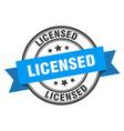licensed label blue band sign vector image vector image