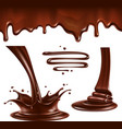 Liquid chocolate Splashes and drops vector image vector image
