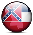 Map on flag button of USA Mississippi State vector image vector image