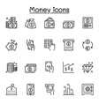 money finance icons set in thin line style vector image